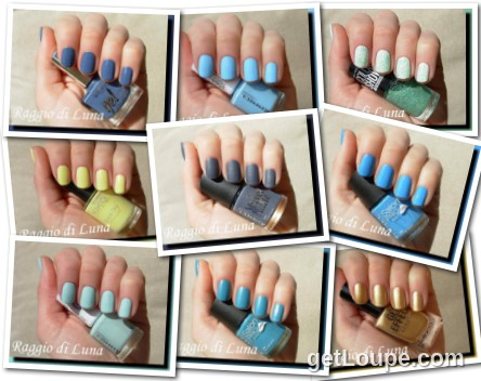 Raggio di Luna manicures collage May 2015 nail polishes