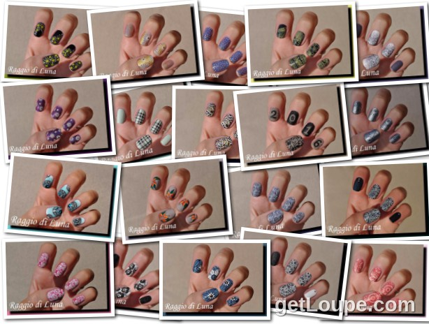 Raggio di Luna manicures collage January 2016 nail art