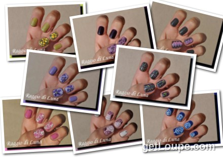 Raggio di Luna manicures collage January 2017 UV gel manicures