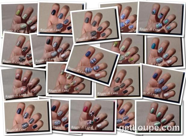 Raggio di Luna manicures collage July 2016 nail art
