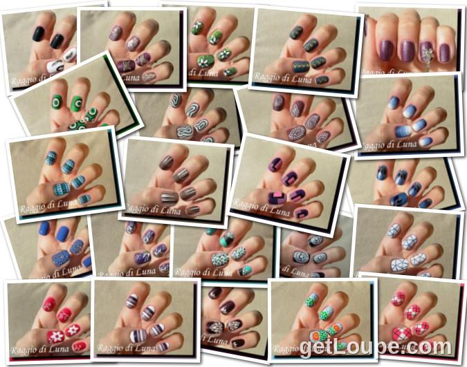 Raggio di luna manicures collage April 2014 nail art