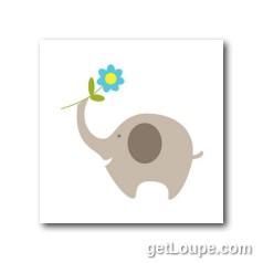 baby elephant holding flower