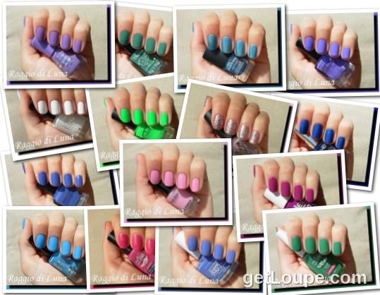 Raggio di Luna manicures collage August 2014 nail polishes
