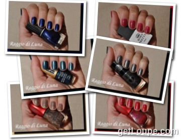 Raggio di Luna manicures collage December 2016 nail polishes