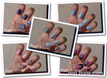 Raggio di Luna manicures collage July 2016 UV gel manicures