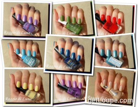 Raggio di Luna manicures collage February 2015 nail polishes