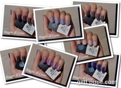 Raggio di Luna manicures collage August 2016 UV gel polishes
