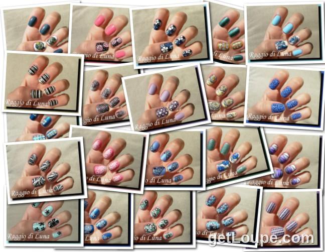 Raggio di Luna manicures collage July 2014 nail art