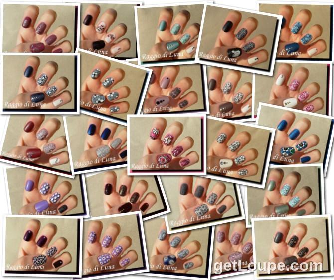 Raggio di Luna manicures collage January 2015 nail art