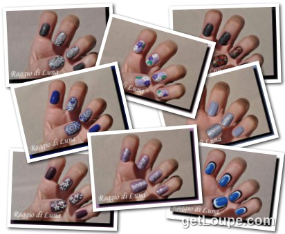 Raggio di Luna manicures collage August 2016 UV gel manicures