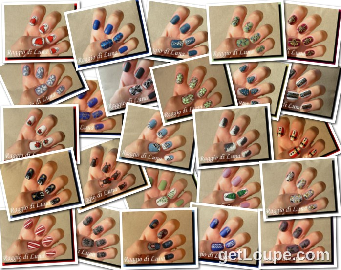 Raggio di Luna manicures collage December 2013 nail art